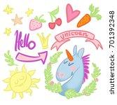 set of stickers funny unicorn   Shutterstock . vector #701392348