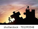 silhouette people helping to... | Shutterstock . vector #701393548