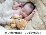 newborn cute baby sleep on a... | Shutterstock . vector #701395084
