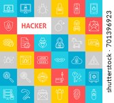 vector line hacker icons. thin... | Shutterstock .eps vector #701396923