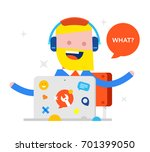 happy businessman sitting at... | Shutterstock .eps vector #701399050