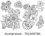Stock vector set of black and white floral design elements can use for coloring book and print 701400784