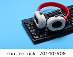 earphones in red and white...   Shutterstock . vector #701402908