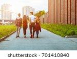 group of friends walking... | Shutterstock . vector #701410840