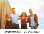 group of friends walking... | Shutterstock . vector #701413060