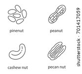 nuts types linear icons set.... | Shutterstock .eps vector #701417059