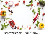 top view of various fresh vegetables and herbs isolated on white