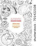 spanish cuisine top view frame. ... | Shutterstock .eps vector #701422108