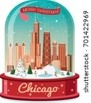 chicago christmas snowball | Shutterstock .eps vector #701422969