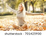 beautiful blond hair woman... | Shutterstock . vector #701425930