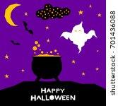 happy halloween card template.... | Shutterstock .eps vector #701436088