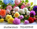 colorful roses flower... | Shutterstock . vector #701439949