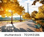 sunny morning and eiffel tower... | Shutterstock . vector #701443186