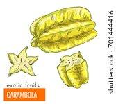 carambola. full color realistic ... | Shutterstock .eps vector #701444416