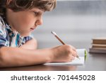 side view of focused little boy ... | Shutterstock . vector #701445028