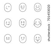 smiles linear icons set. thin...   Shutterstock .eps vector #701453020