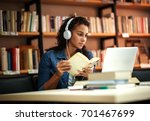 young female student study in... | Shutterstock . vector #701467699