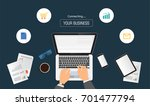 hands typing text on the... | Shutterstock .eps vector #701477794