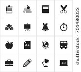 set of 16 editable school icons.... | Shutterstock .eps vector #701480023