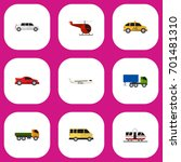 set of 9 editable vehicle flat...
