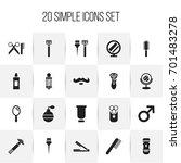 set of 20 editable barber icons....