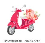 cute scooter with flowers. | Shutterstock .eps vector #701487754