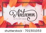 autumn sale background layout...   Shutterstock .eps vector #701501053