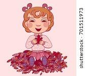 little happy girl with autumn... | Shutterstock .eps vector #701511973