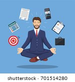 businessman meditating  time... | Shutterstock .eps vector #701514280