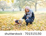 enjoying autumn with friend | Shutterstock . vector #701515150