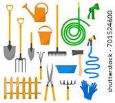 garden set  tools  equipment ... | Shutterstock .eps vector #701524600