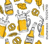 pattern with beer and snack in... | Shutterstock .eps vector #701524750