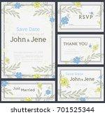 wedding invitation design set.... | Shutterstock .eps vector #701525344