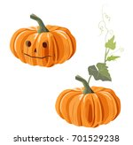 Two Orange Pumpkins  One With...