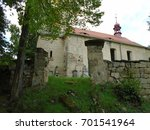 an old abandoned cemetery chapel | Shutterstock . vector #701541964