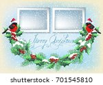 christmas card with two photo... | Shutterstock .eps vector #701545810