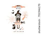 little witch  happy halloween... | Shutterstock .eps vector #701546170