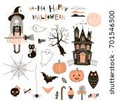 happy halloween graphic set | Shutterstock .eps vector #701546500