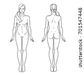 female body front and back view ... | Shutterstock .eps vector #701547448