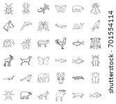 wild life icons set outline