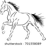 sketch of a cantering horse. | Shutterstock .eps vector #701558089