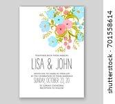 romantic pink peony bouquet... | Shutterstock .eps vector #701558614