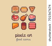 food pixel art icons set  16x16 ... | Shutterstock .eps vector #701567674