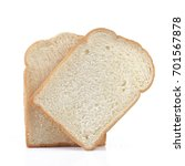 Small photo of Piece of white bread on white background