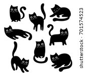 Stock vector set of black cats collection of cartoon cats for halloween lovely playing black kittens vector 701574523