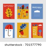 set of cute creative autumn... | Shutterstock .eps vector #701577790