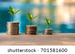 plant growing in savings coins. ... | Shutterstock . vector #701581600