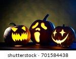 Small photo of Group of Halloween Pumpkins, studio shot t