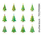 christmas tree flat design... | Shutterstock .eps vector #701590084