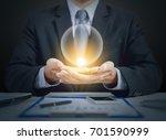 businessman present crystal... | Shutterstock . vector #701590999